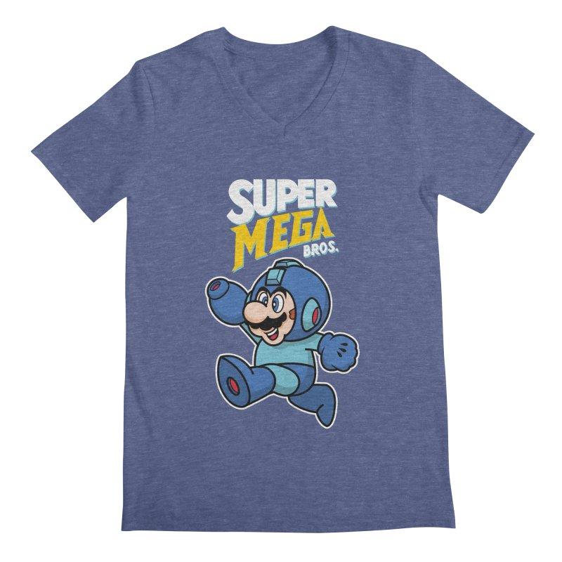 Super Mega Bros  Men's V-Neck by Mdk7's Artist Shop