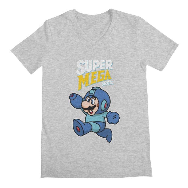 Super Mega Bros  Men's Regular V-Neck by Mdk7's Artist Shop