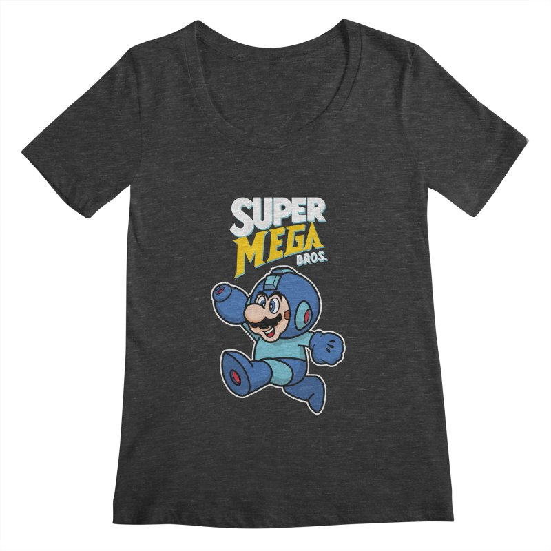 Super Mega Bros  Women's Scoopneck by Mdk7's Artist Shop