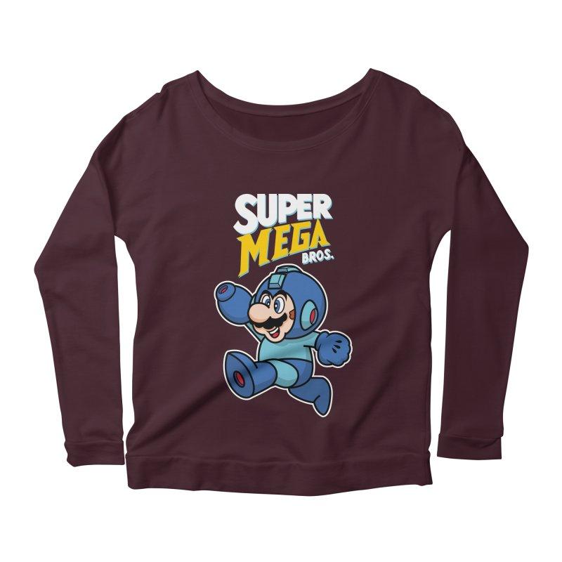 Super Mega Bros  Women's Scoop Neck Longsleeve T-Shirt by Mdk7's Artist Shop