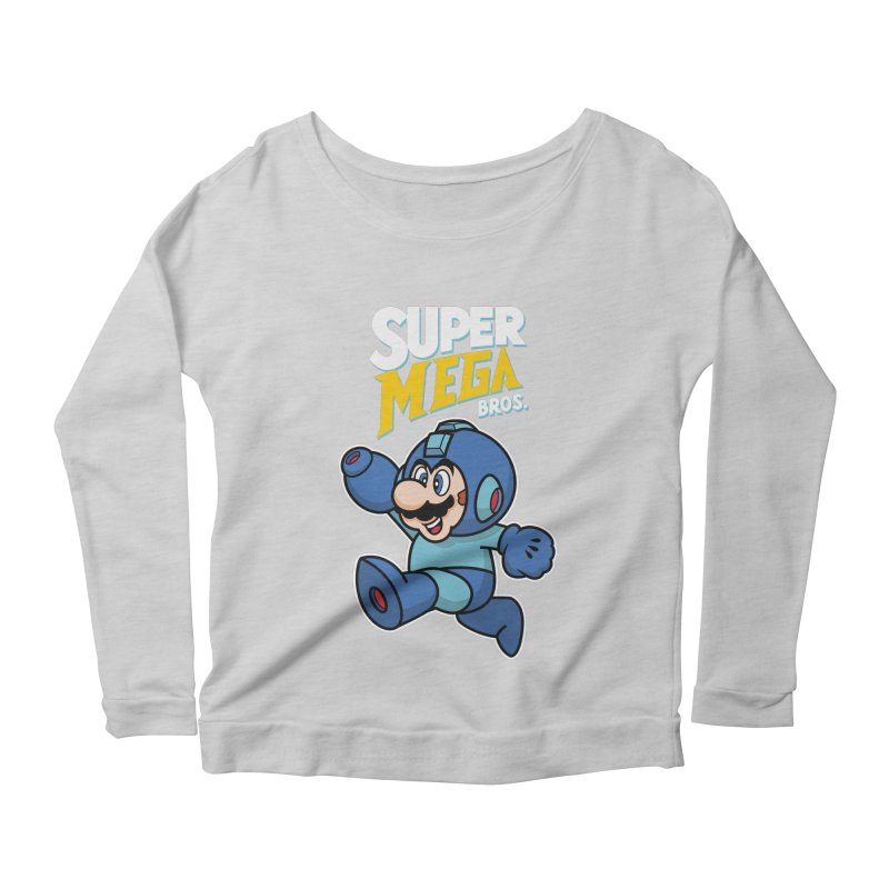 Super Mega Bros  Women's Scoop Neck Longsleeve T-Shirt by Mdk7's Artist Shop