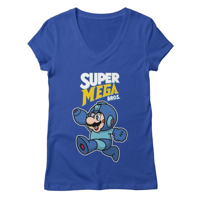 Super Mega Bros  Women's Regular V-Neck by Mdk7's Artist Shop