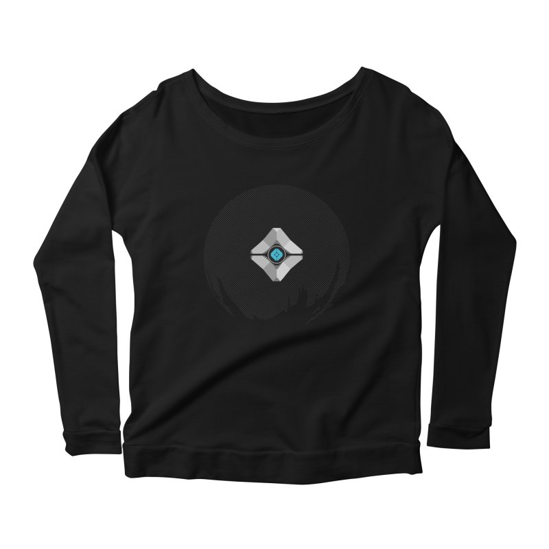 Minimal moon companion Women's Longsleeve Scoopneck  by Mdk7's Artist Shop