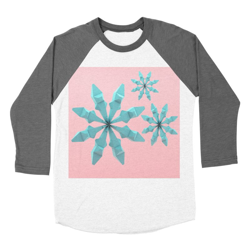 Snowflake (cyan and pink) Women's Baseball Triblend Longsleeve T-Shirt by Me&My3D