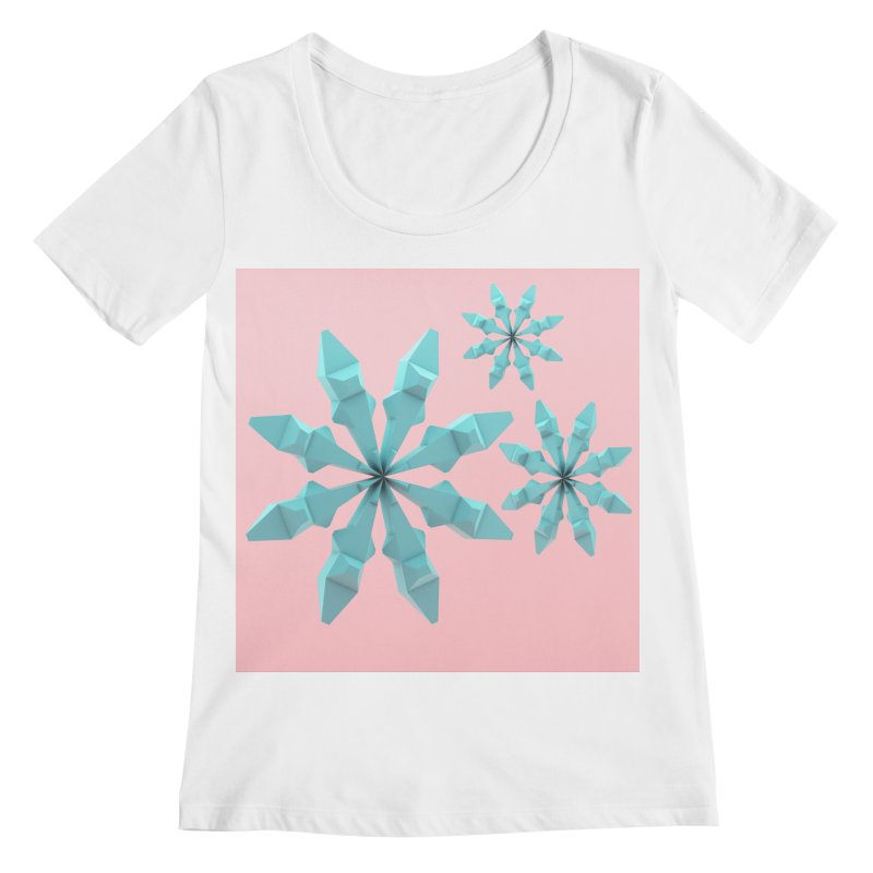 Snowflake (cyan and pink) Women's Regular Scoop Neck by Me&My3D