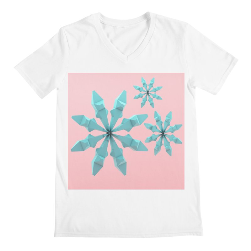 Snowflake (cyan and pink) Men's Regular V-Neck by Me&My3D