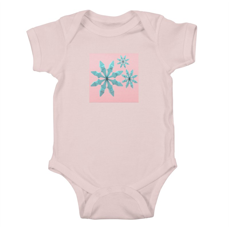 Snowflake (cyan and pink) Kids Baby Bodysuit by Me&My3D