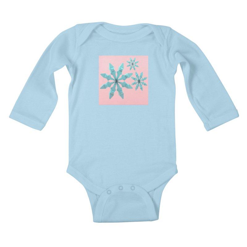 Snowflake (cyan and pink) Kids Baby Longsleeve Bodysuit by Me&My3D