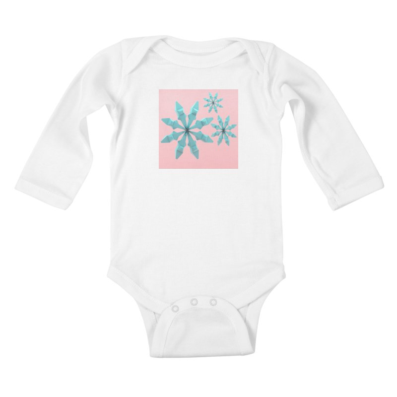 Snowflake (cyan and pink) Kids Baby Longsleeve Bodysuit by Me&My3D