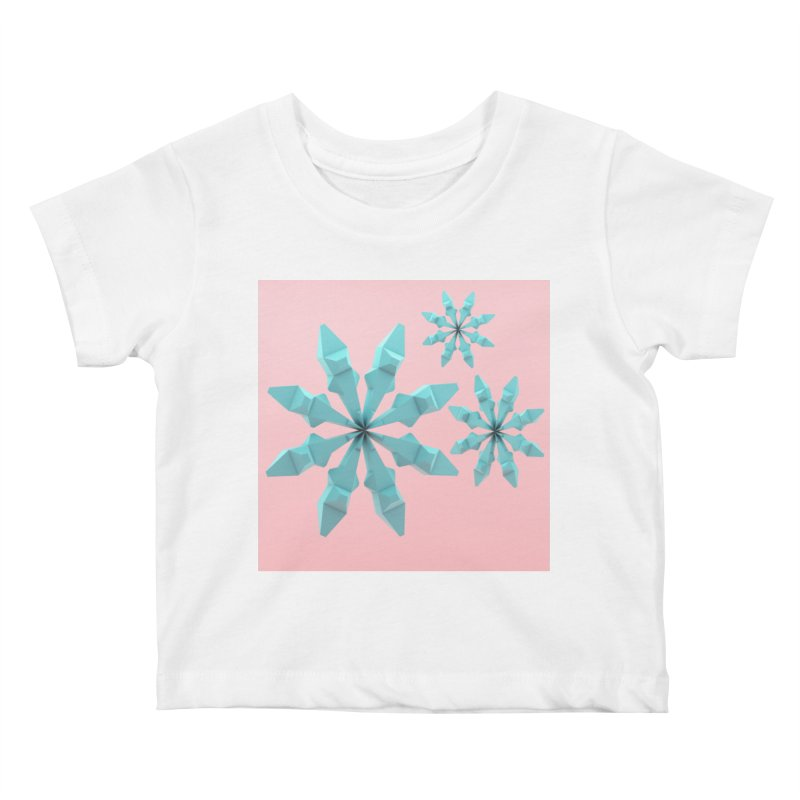 Snowflake (cyan and pink) Kids Baby T-Shirt by Me&My3D