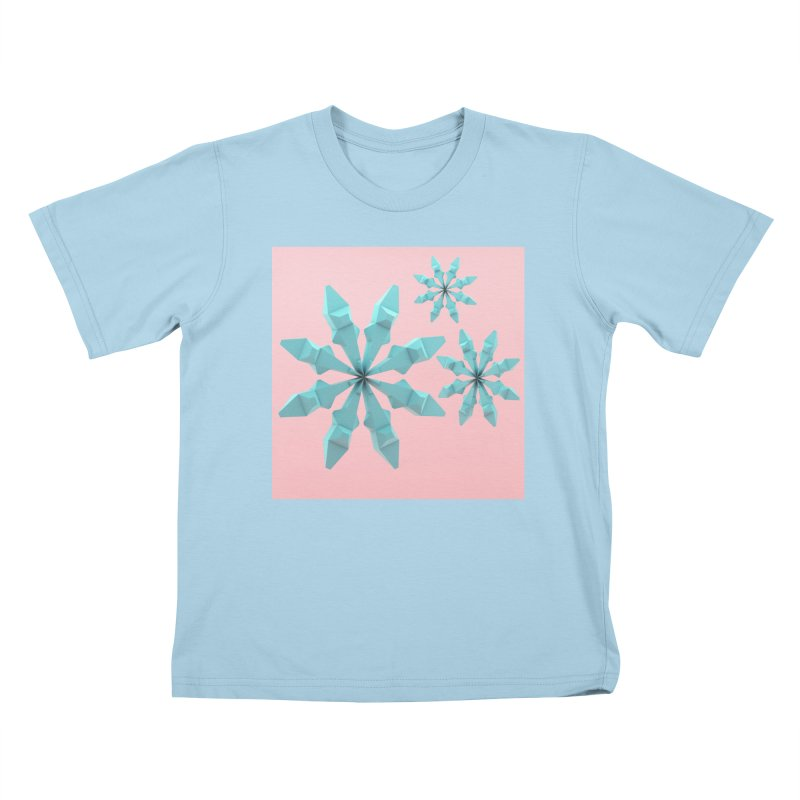 Snowflake (cyan and pink) Kids T-Shirt by Me&My3D