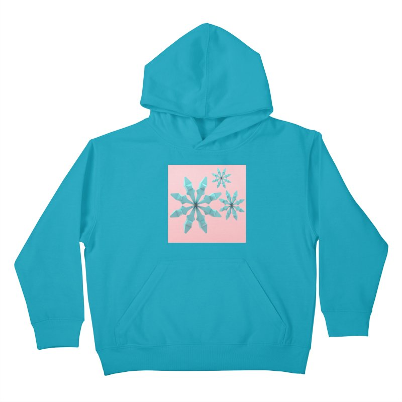 Snowflake (cyan and pink) Kids Pullover Hoody by Me&My3D