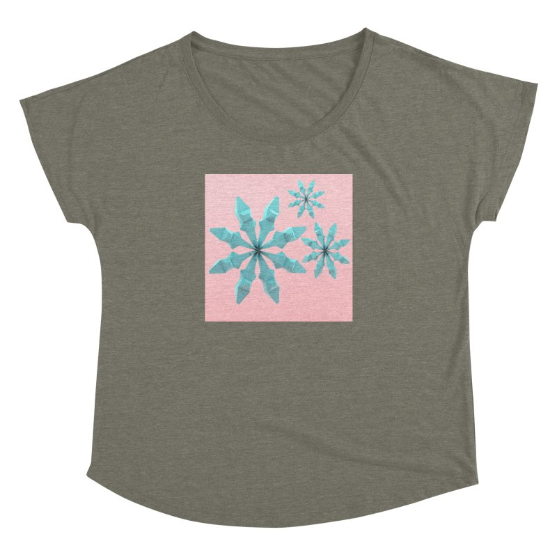 Snowflake (cyan and pink) Women's Dolman Scoop Neck by Me&My3D