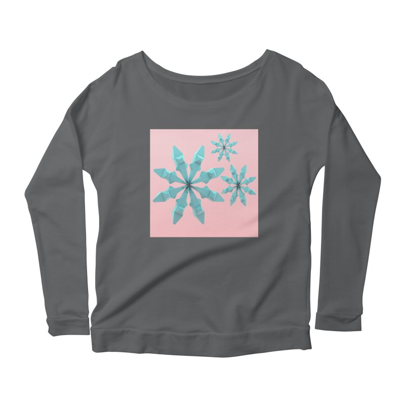 Snowflake (cyan and pink) Women's Scoop Neck Longsleeve T-Shirt by Me&My3D