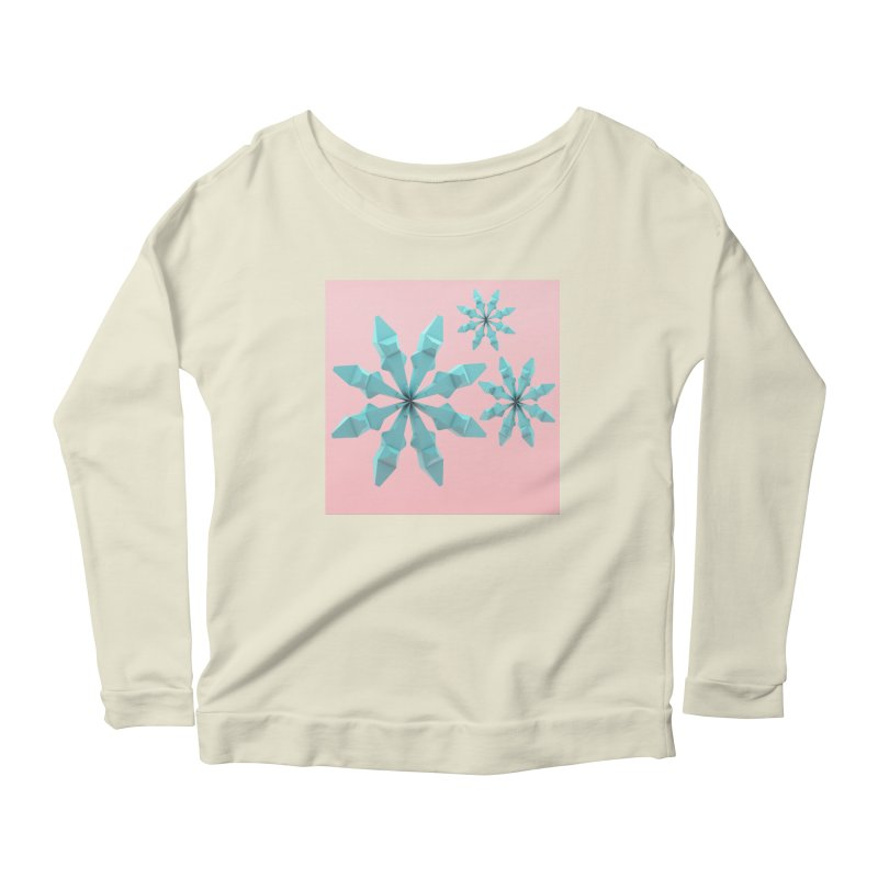 Snowflake (cyan and pink) Women's Longsleeve Scoopneck  by Me&My3D