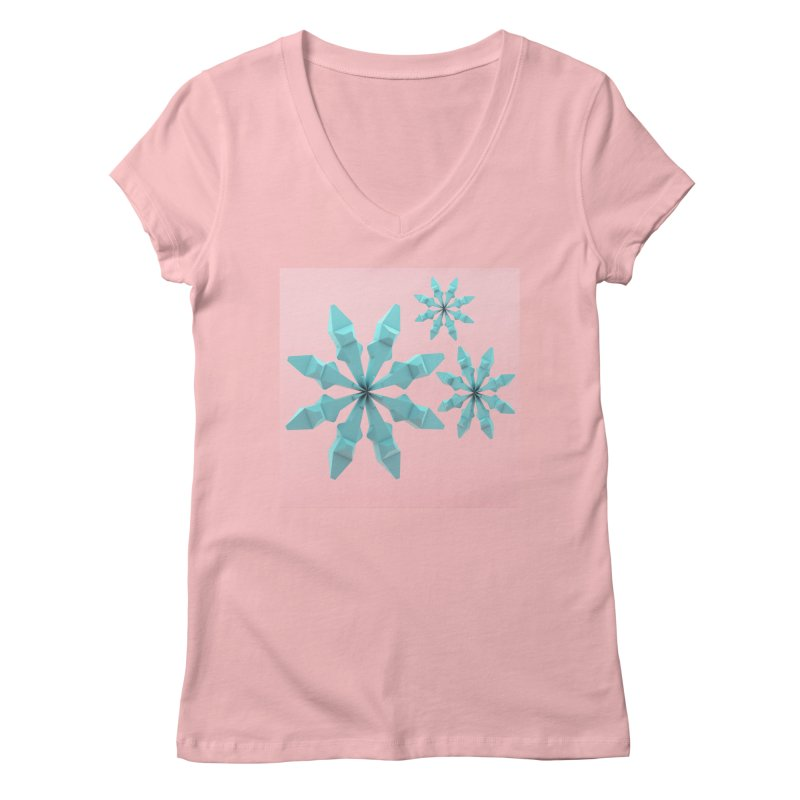 Snowflake (cyan and pink) Women's V-Neck by Me&My3D