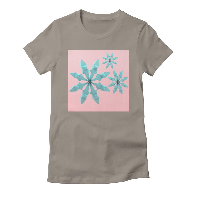 Snowflake (cyan and pink) Women's Fitted T-Shirt by Me&My3D