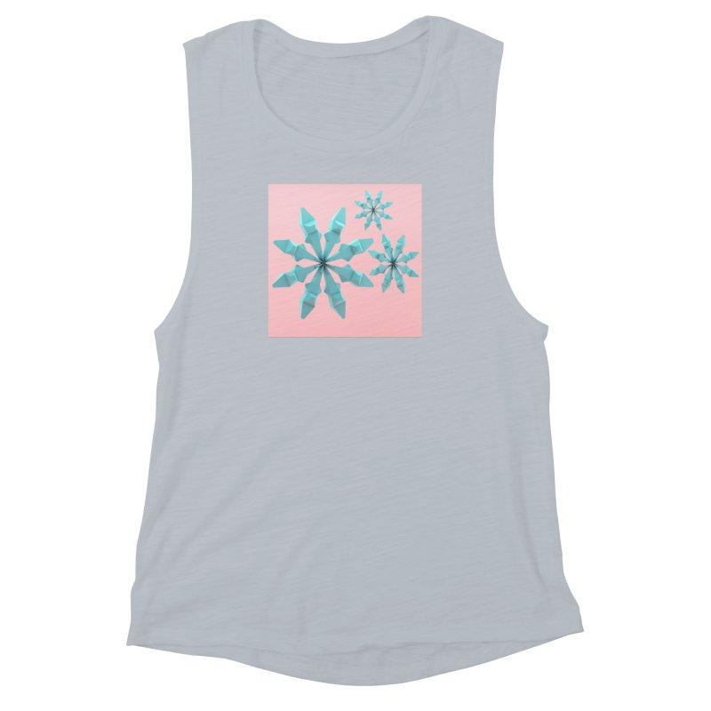 Snowflake (cyan and pink) Women's Muscle Tank by Me&My3D