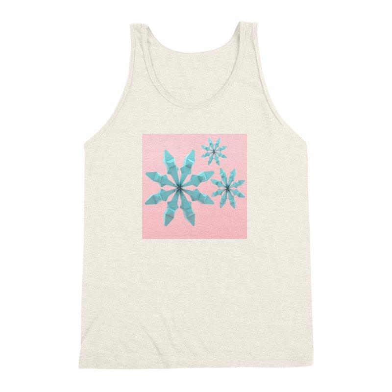 Snowflake (cyan and pink) Men's Triblend Tank by Me&My3D