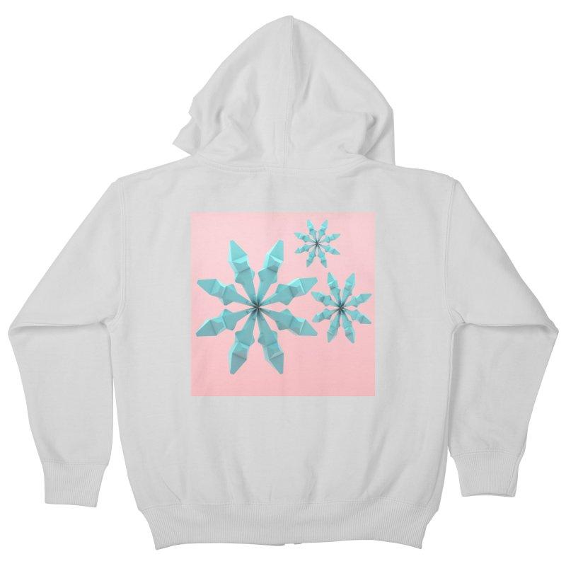 Snowflake (cyan and pink) Kids Zip-Up Hoody by Me&My3D