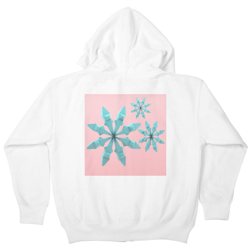 Snowflake (cyan and pink) Kids Zip-Up Hoody by Me&My3D
