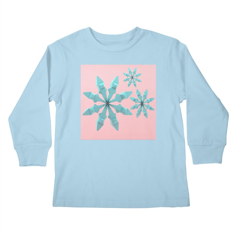 Snowflake (cyan and pink) Kids Longsleeve T-Shirt by Me&My3D