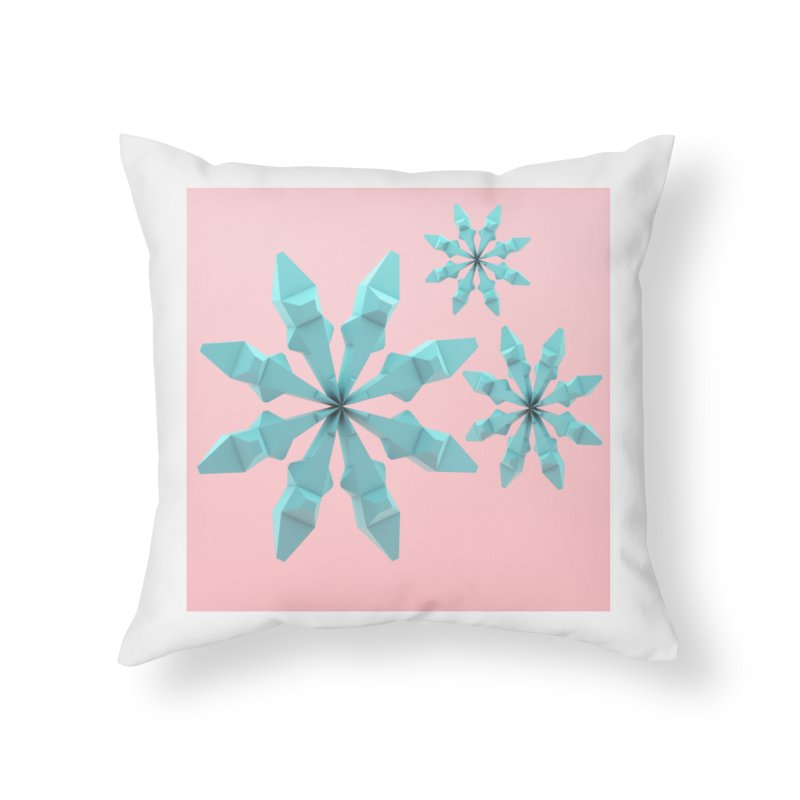 Snowflake (cyan and pink) Home Throw Pillow by Me&My3D