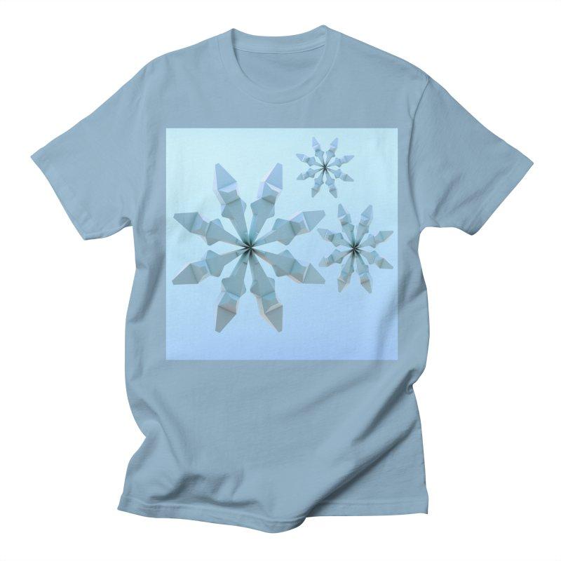 Snowflakes (blue) Men's T-Shirt by Me&My3D