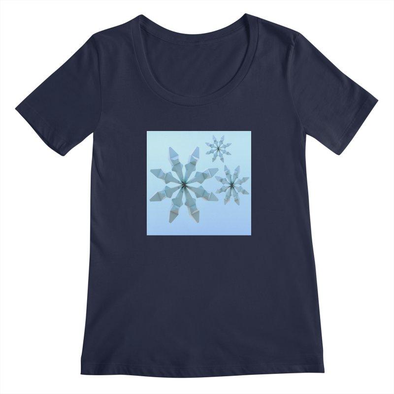 Snowflakes (blue) Women's Regular Scoop Neck by Me&My3D