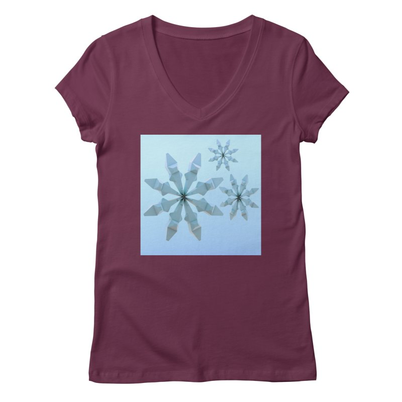 Snowflakes (blue) Women's Regular V-Neck by Me&My3D