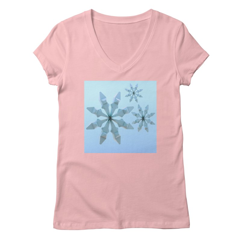 Snowflakes (blue) Women's V-Neck by Me&My3D