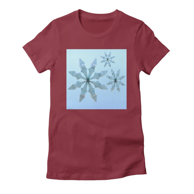 Snowflakes (blue) Women's Fitted T-Shirt by Me&My3D