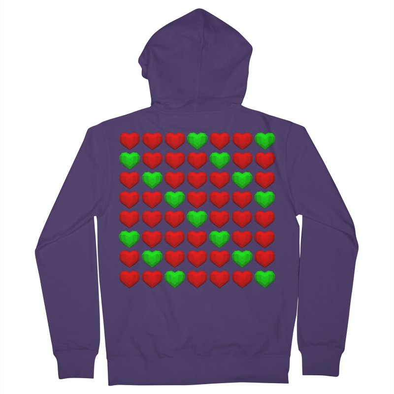 Lowpoly Christmasy Hearts Women's French Terry Zip-Up Hoody by Me&My3D