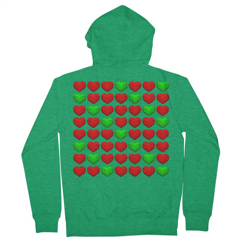 Lowpoly Christmasy Hearts Men's Zip-Up Hoody by Me&My3D