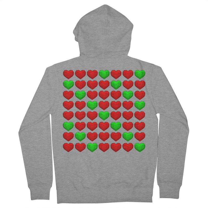 Lowpoly Christmasy Hearts Men's French Terry Zip-Up Hoody by Me&My3D