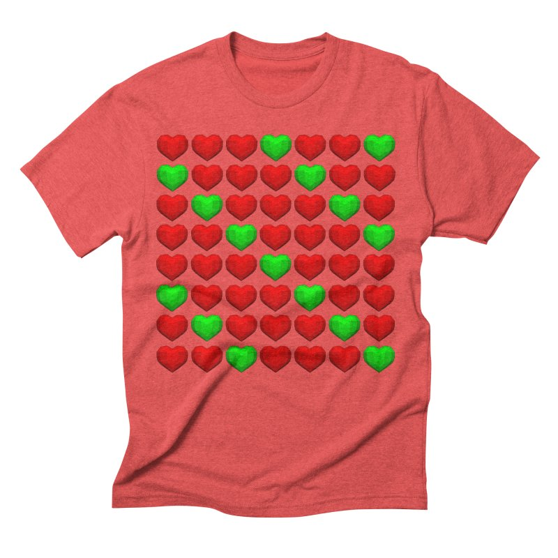 Lowpoly Christmasy Hearts Men's Triblend T-Shirt by Me&My3D