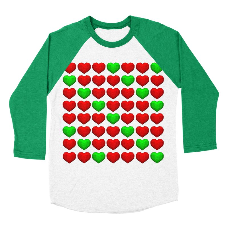 Lowpoly Christmasy Hearts Women's Baseball Triblend Longsleeve T-Shirt by Me&My3D