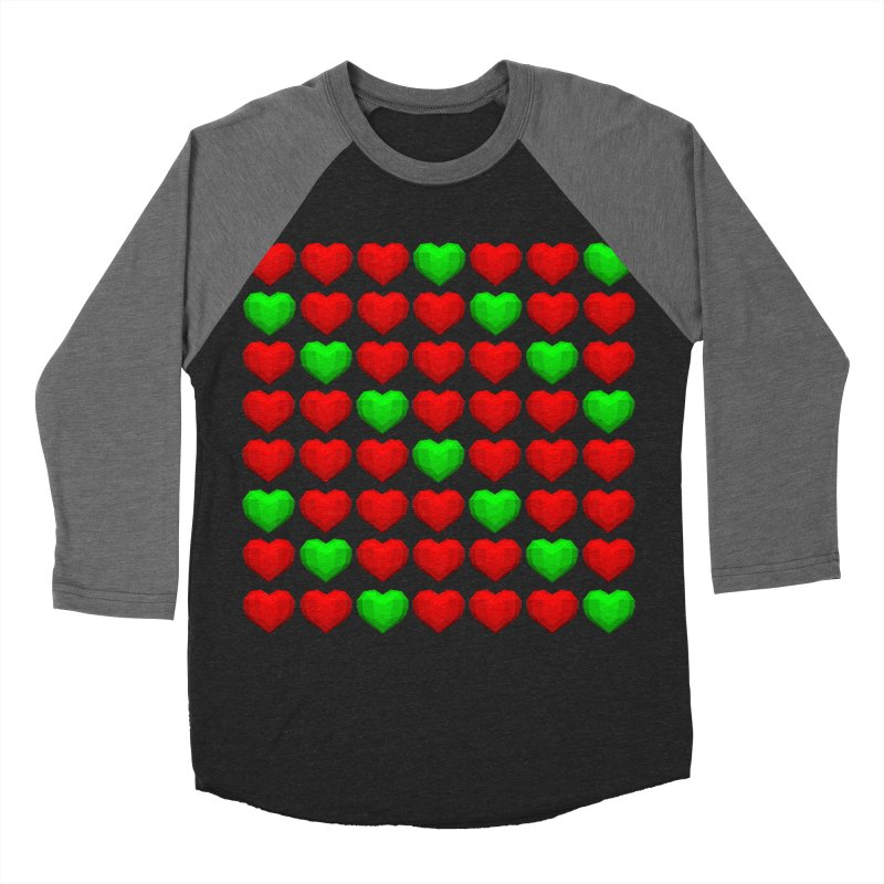 Lowpoly Christmasy Hearts Women's Baseball Triblend T-Shirt by Me&My3D