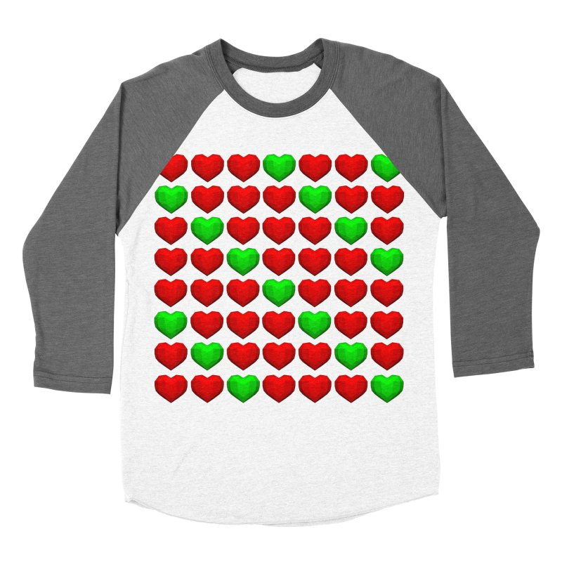 Lowpoly Christmasy Hearts Men's Baseball Triblend Longsleeve T-Shirt by Me&My3D