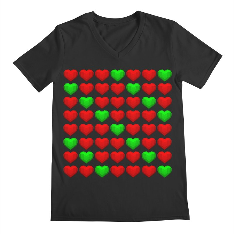 Lowpoly Christmasy Hearts Men's Regular V-Neck by Me&My3D