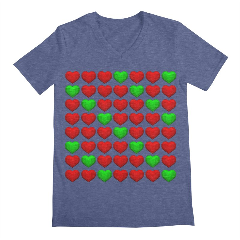 Lowpoly Christmasy Hearts Men's V-Neck by Me&My3D