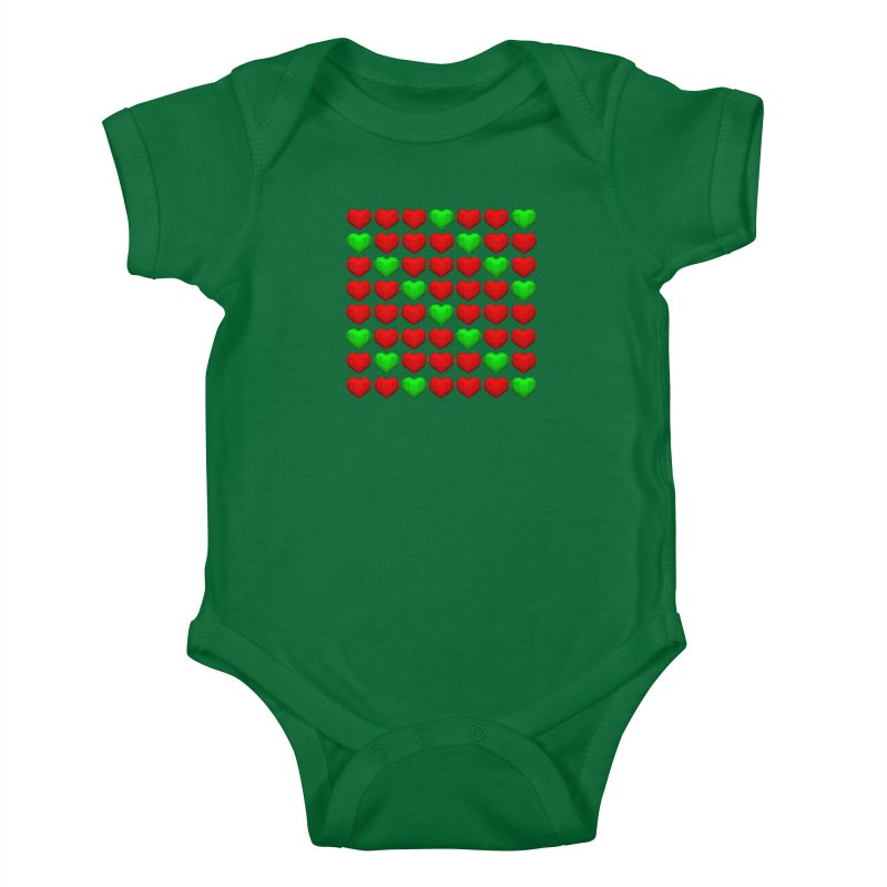 Lowpoly Christmasy Hearts Kids Baby Bodysuit by Me&My3D