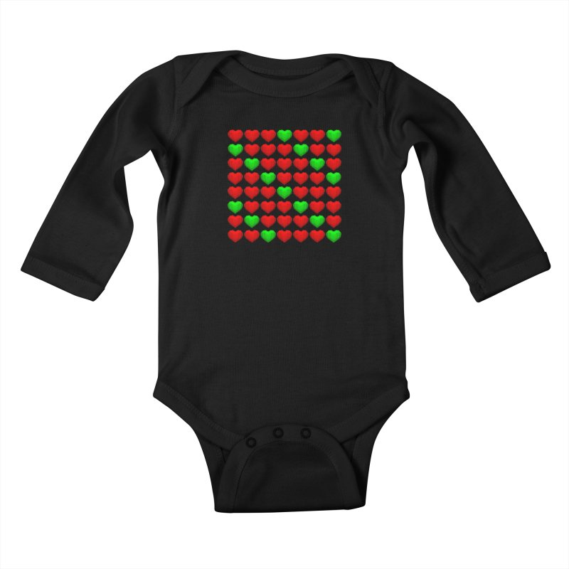 Lowpoly Christmasy Hearts Kids Baby Longsleeve Bodysuit by Me&My3D