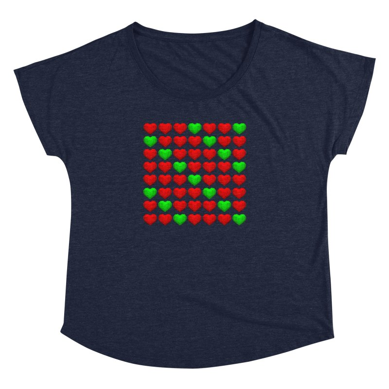 Lowpoly Christmasy Hearts Women's Dolman Scoop Neck by Me&My3D