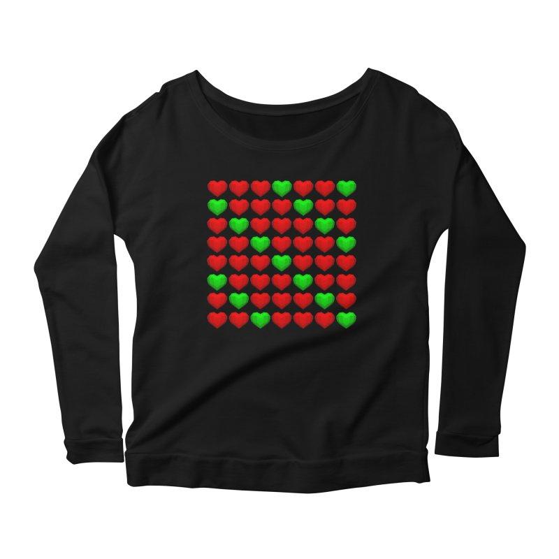 Lowpoly Christmasy Hearts Women's Longsleeve Scoopneck  by Me&My3D