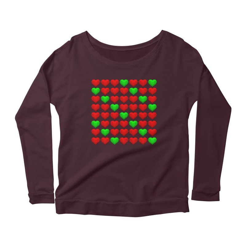 Lowpoly Christmasy Hearts Women's Scoop Neck Longsleeve T-Shirt by Me&My3D