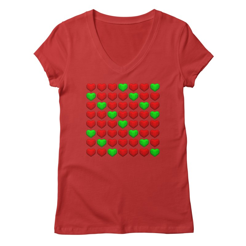 Lowpoly Christmasy Hearts Women's Regular V-Neck by Me&My3D