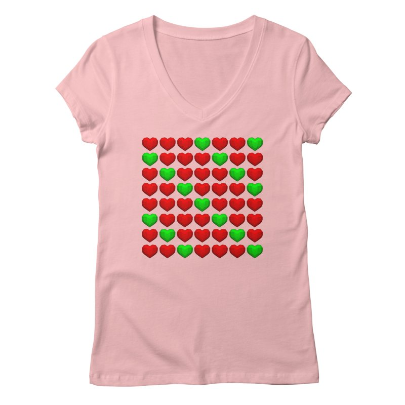 Lowpoly Christmasy Hearts Women's V-Neck by Me&My3D