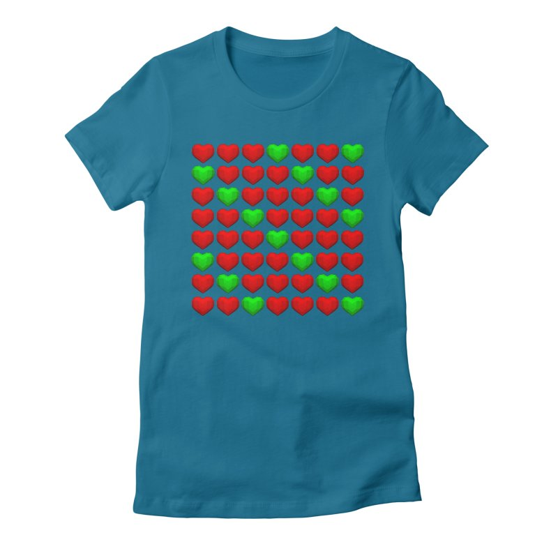 Lowpoly Christmasy Hearts Women's Fitted T-Shirt by Me&My3D