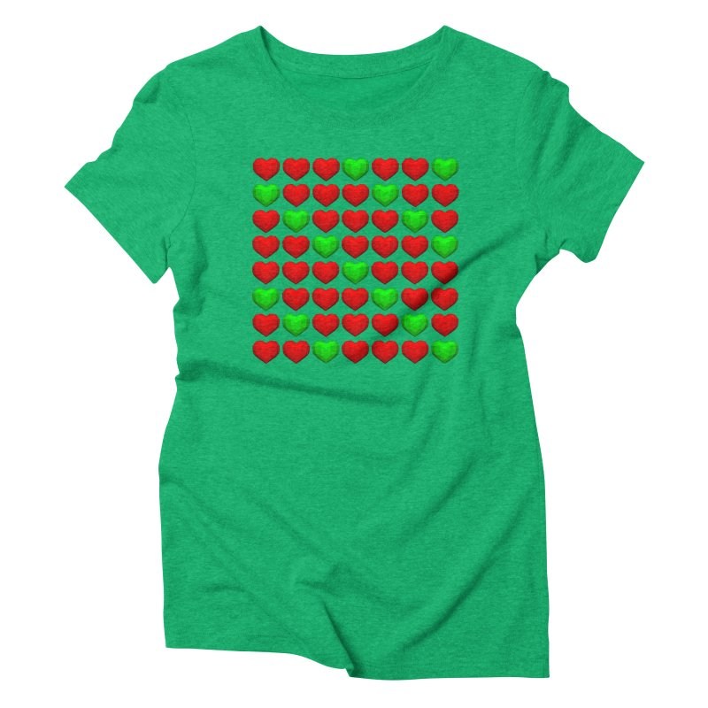 Lowpoly Christmasy Hearts Women's Triblend T-Shirt by Me&My3D